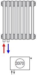 Подключение радиатора Zehnder нижнее слева № 3370 (без встроенного термовентиля)