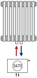 Подключение радиатора Zehnder нижнее по центру № 3470 (без встроенного термовентиля)