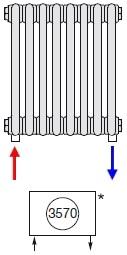 Подключение радиатора Zehnder нижнее по краям № 3570 (без встроенного термовентиля)
