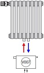 Подключение радиатора Zehnder нижнее по центру со встроенным термовентилем № V007
